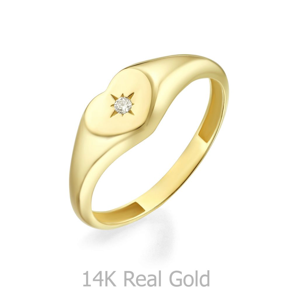 Women's Gold Jewelry | 14K Yellow Gold Ring - Shimmering Heart Seal