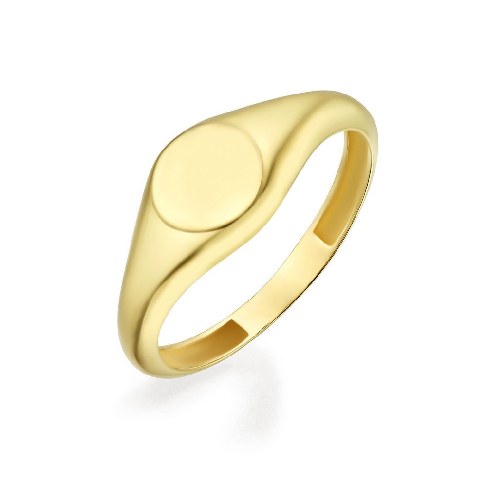 Women's Gold Jewelry | 14K Yellow Gold Ring - Glossy Round Seal