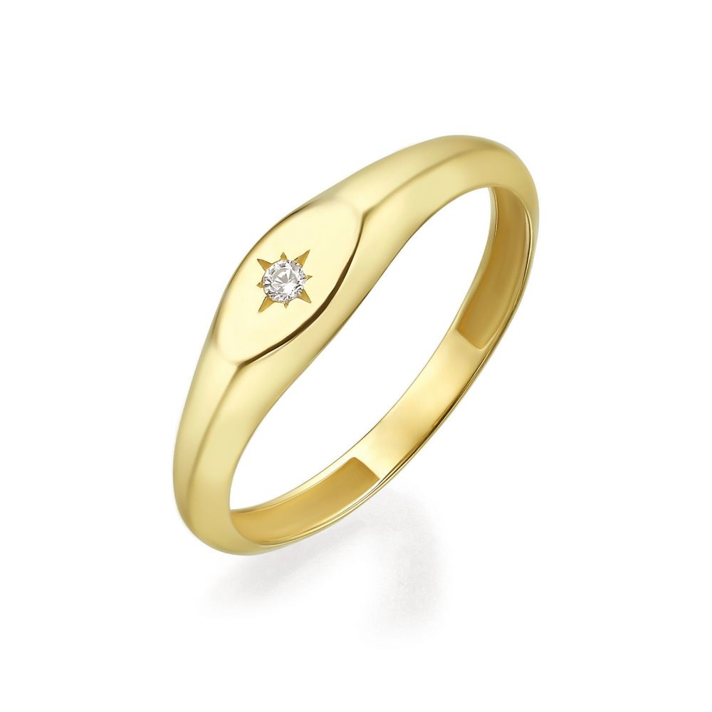 Women's Gold Jewelry | 14K Yellow Gold Ring - Shimmering Oval Seal