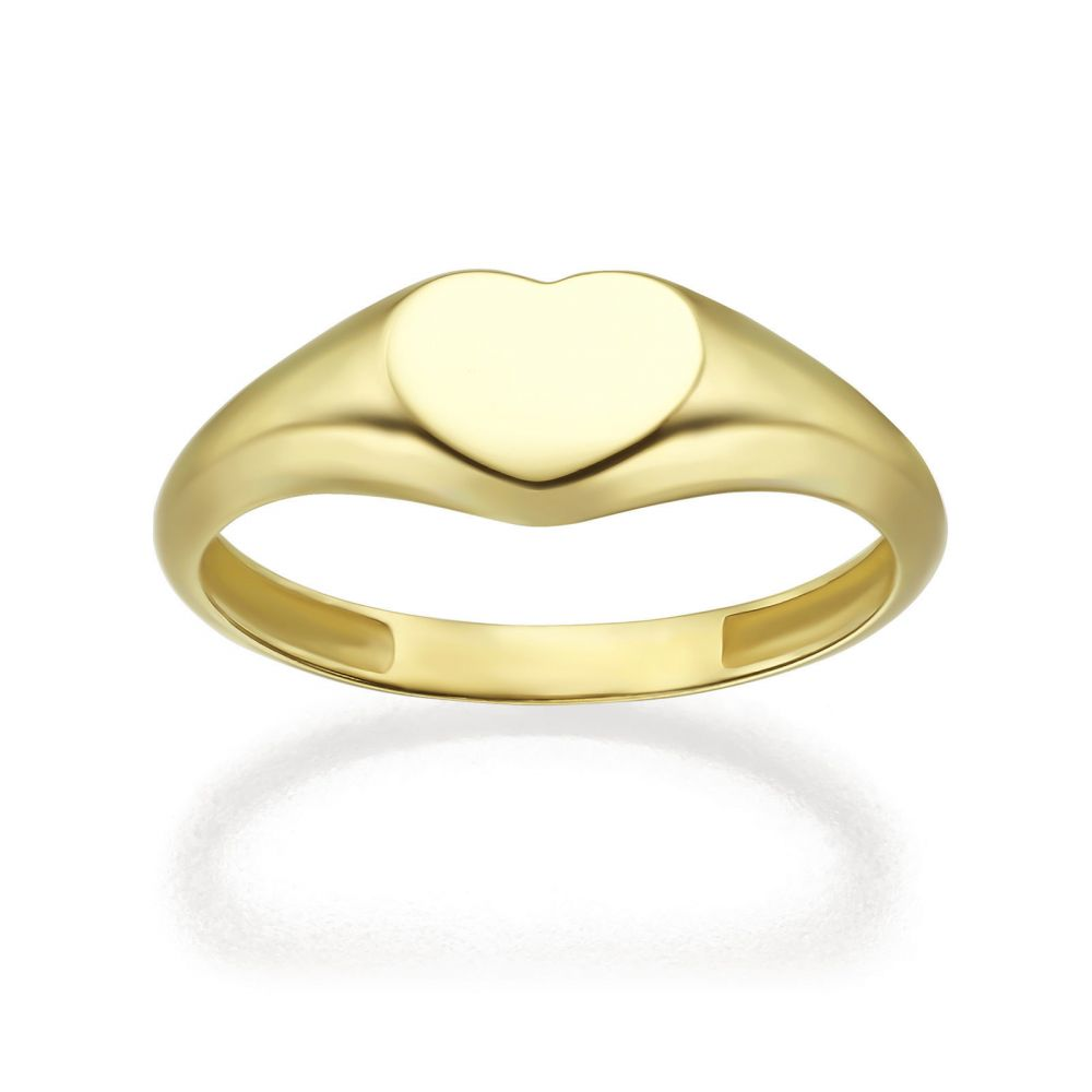 Women's Gold Jewelry | 14K Yellow Gold Ring - Heart Seal