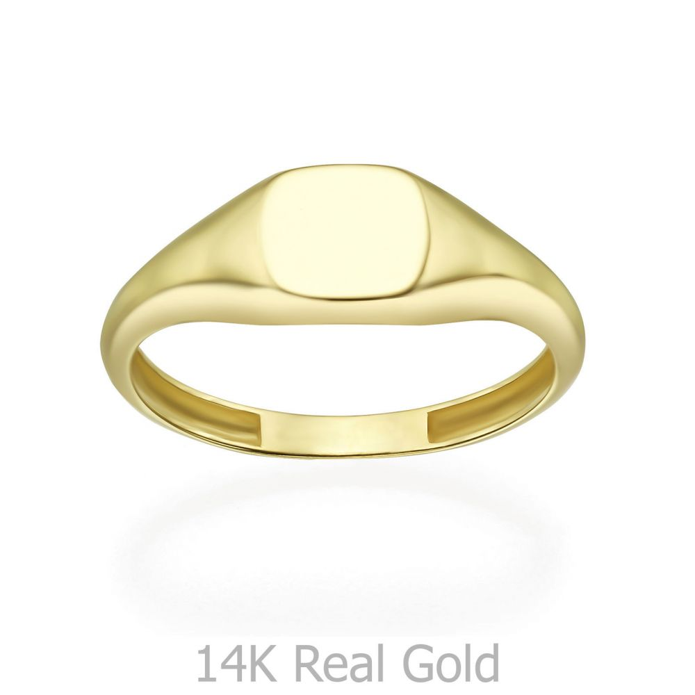 Women's Gold Jewelry | 14K Yellow Gold Ring - Glossy Square Seal