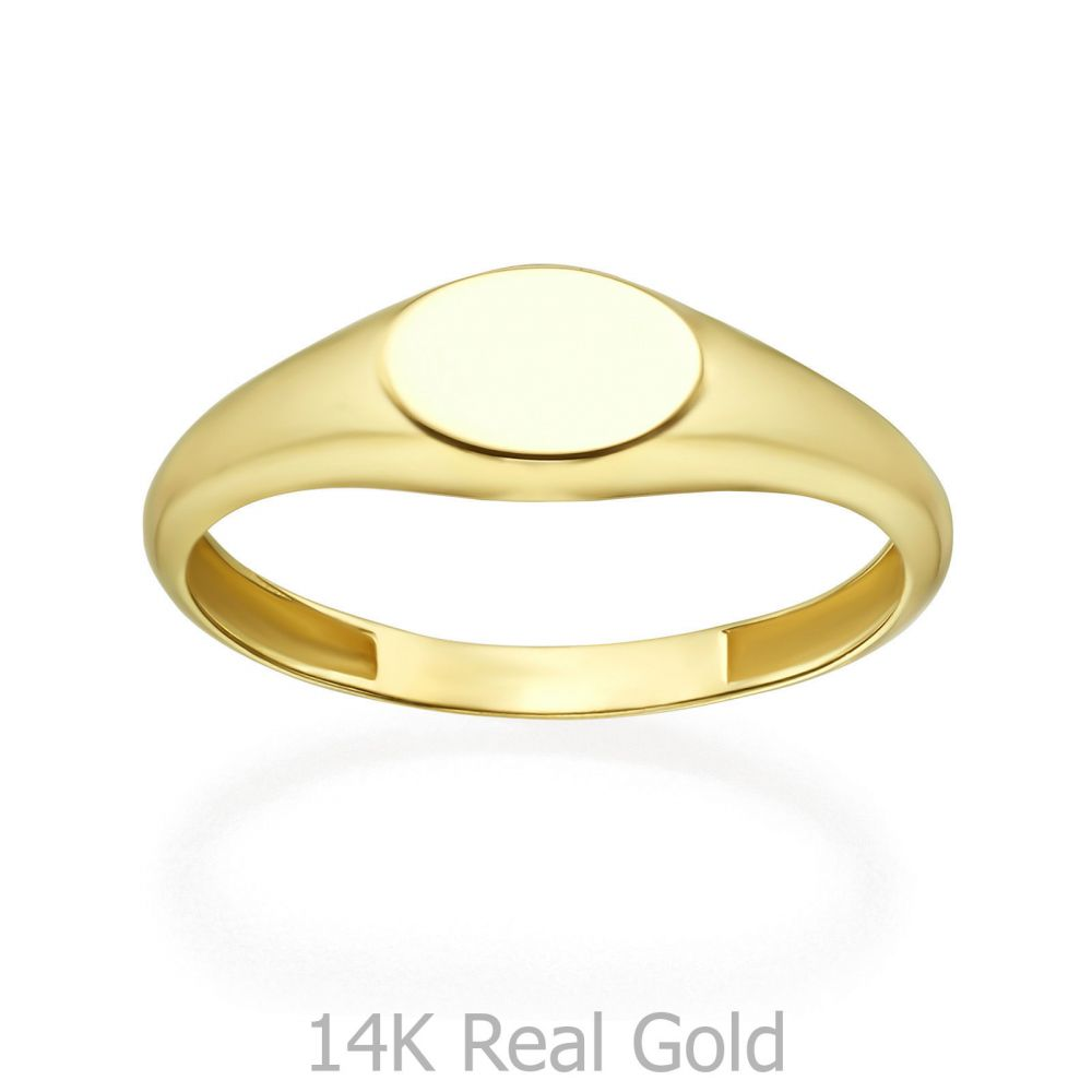 Women's Gold Jewelry | 14K Yellow Gold Ring - Glossy Oval Seal
