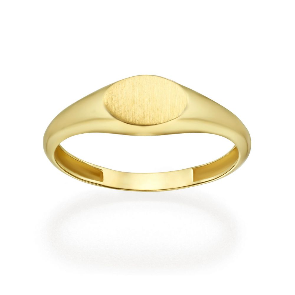 Women's Gold Jewelry | 14K Yellow Gold Ring - Matte Oval Seal