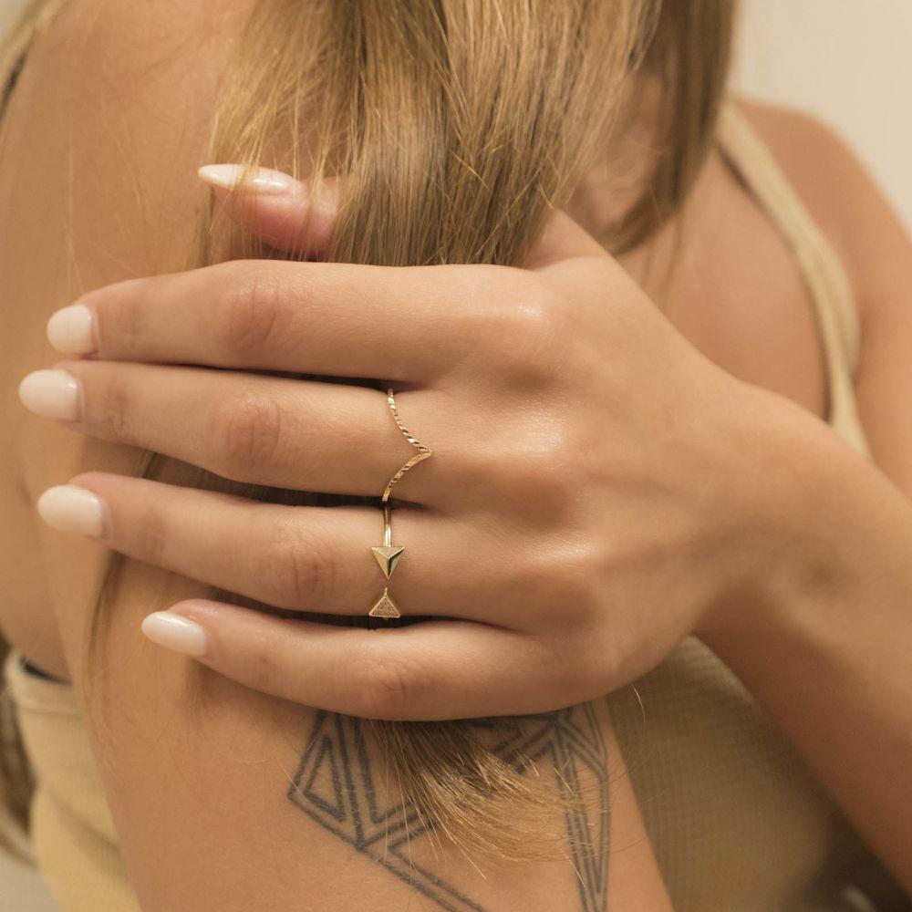 Women's Gold Jewelry   14K Yellow Gold Rings - Diamond Engraving