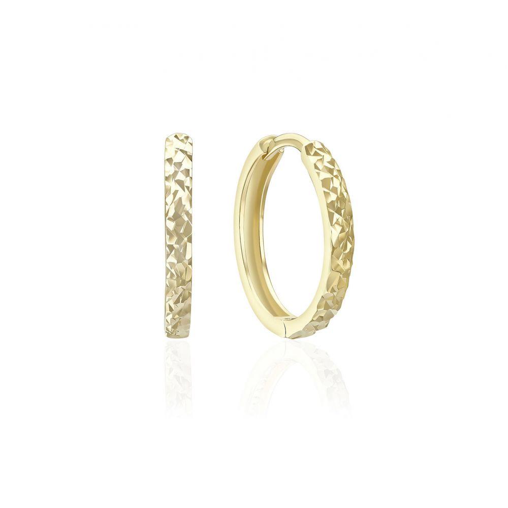 Gold Earrings | 14K Yellow Gold Women's Hoop Earrings- Rounded diamond engraving