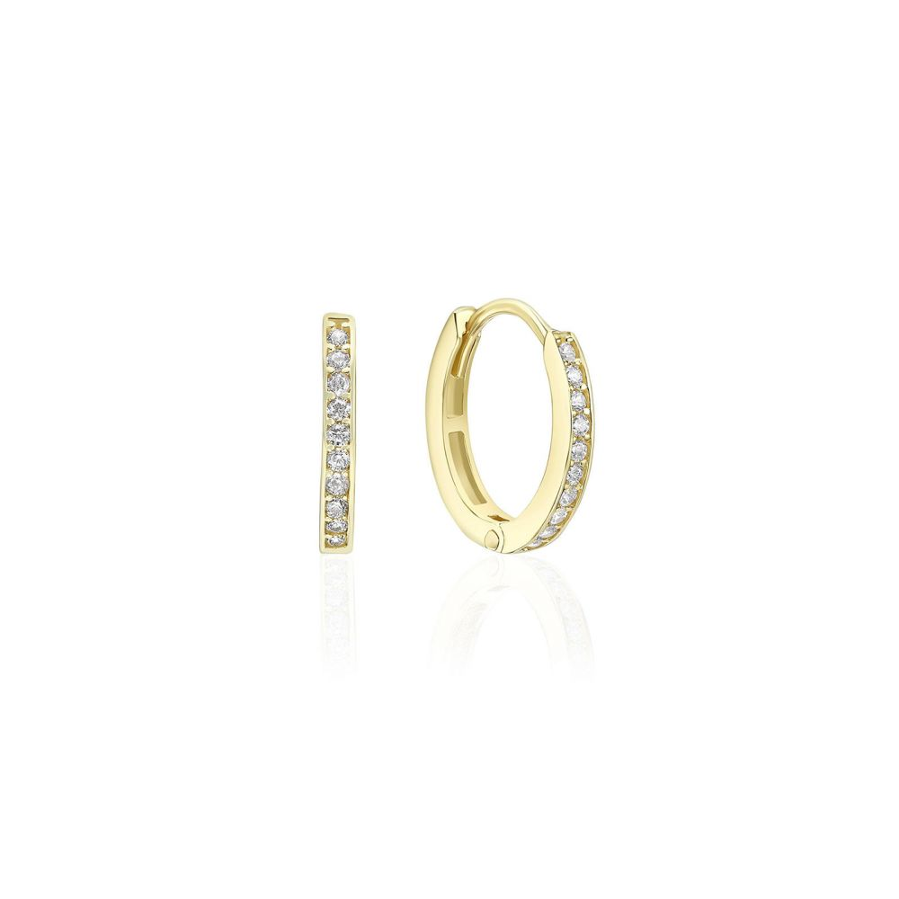 Gold Earrings | 14K Yellow Gold Women's Hoop Earrings - Anne