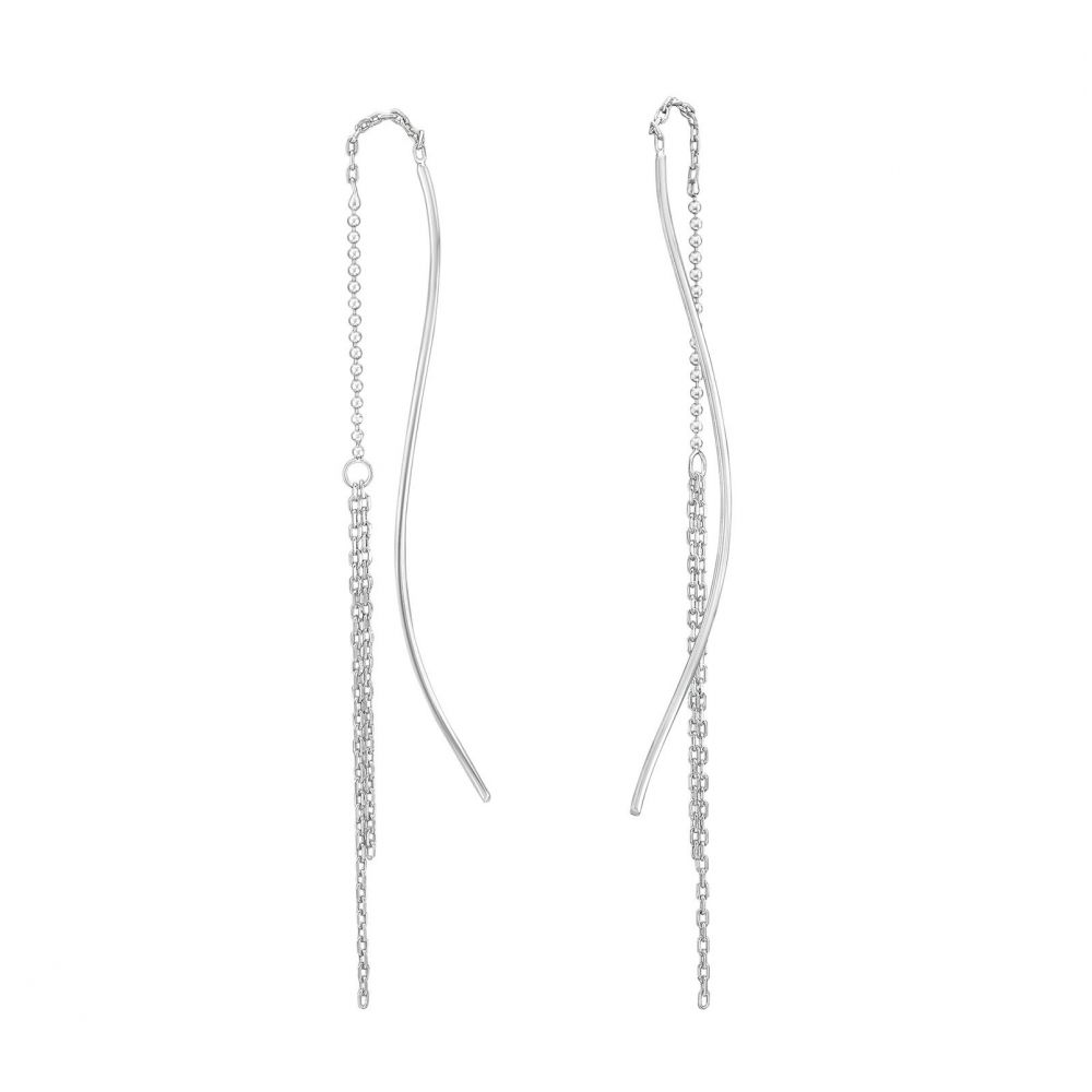 Gold Earrings | 14K White Gold Women's  Earrings - Luna