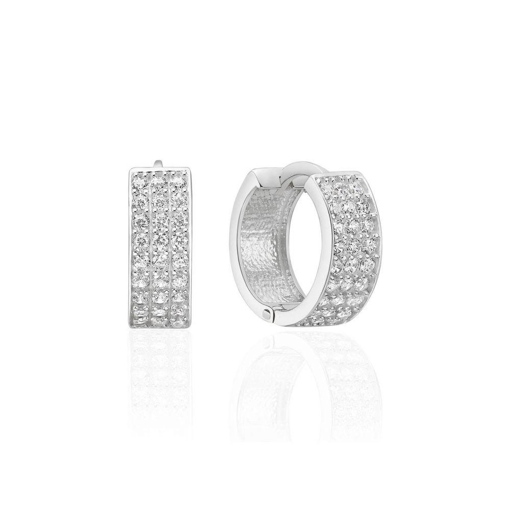 Gold Earrings | 14K White Gold Women's Hoop Earrings- Claire