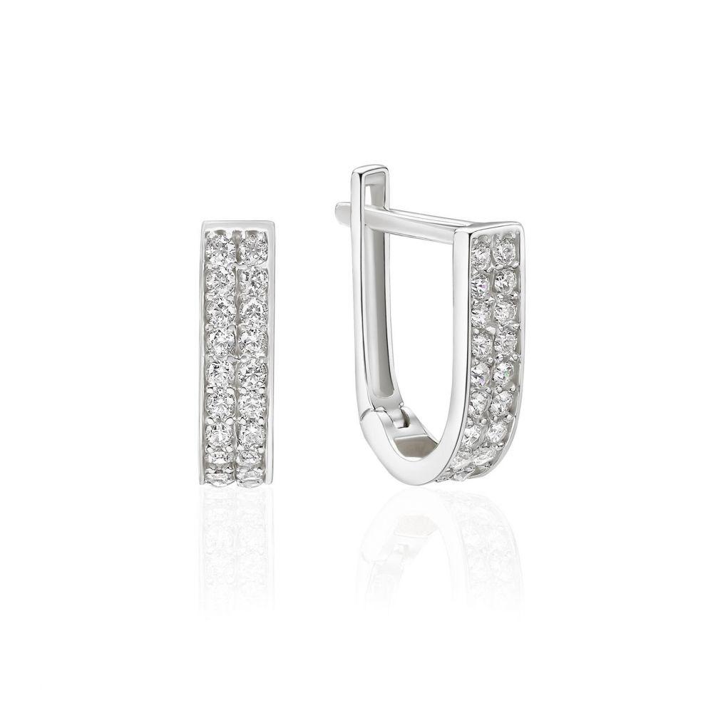 Gold Earrings | 14K White Gold Women's Huggie Earrings- lyri