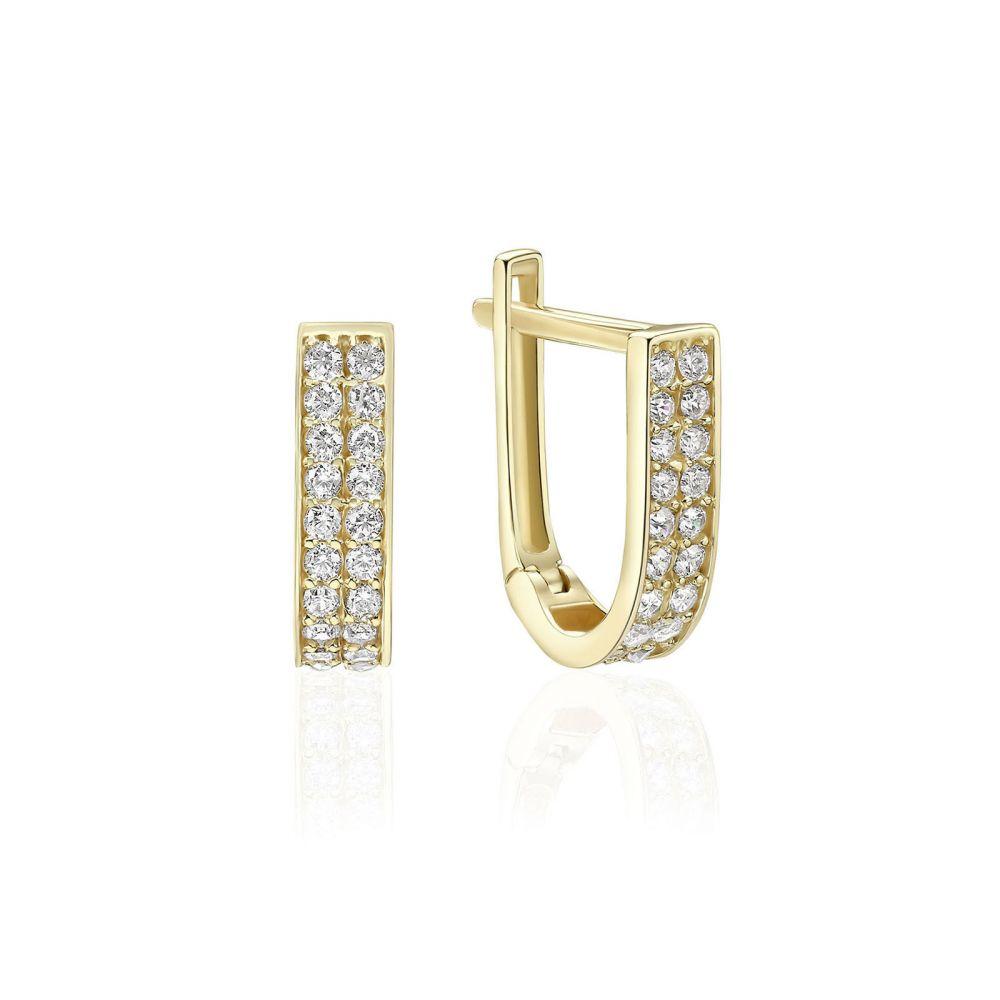 Gold Earrings   14K Yellow Gold Women's Huggie  Earrings- lyri