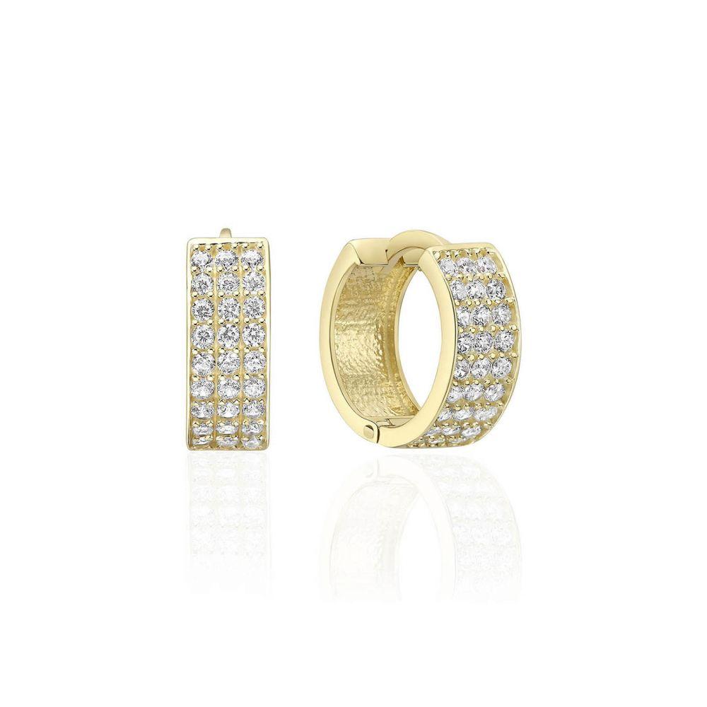Gold Earrings | 14K Yellow Gold Women's Hoop Earrings- Claire