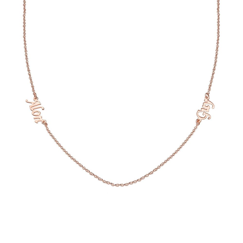 Personalized Necklaces | 14k Rose Gold women's pandant - Two Names Necklace