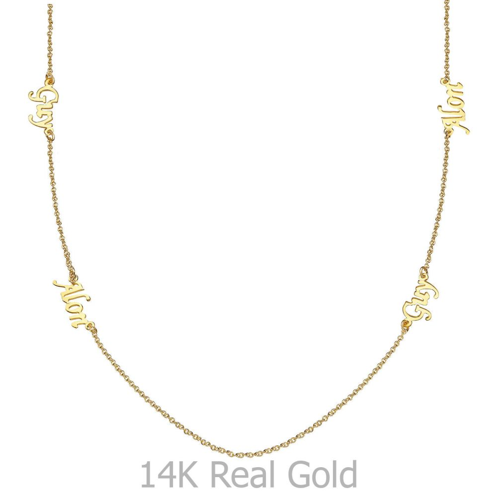 Personalized Necklaces | 14k Yellow gold women's pandant - Four Names Necklace