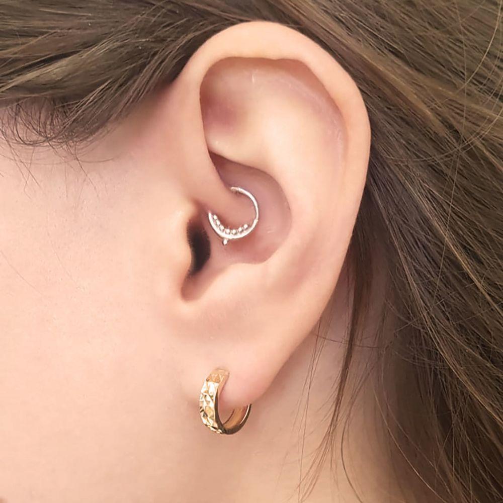 Gold Earrings | 14K Yellow Gold Women's Hoop Earrings - Diamond Engraving Hoop S