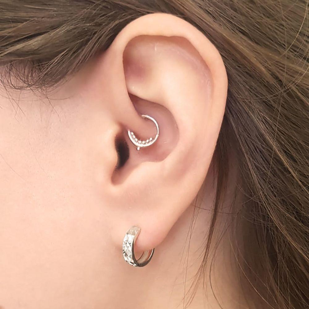 Gold Earrings   14K Yellow Gold Women's Hoop Earrings - Diamond Engraving Hoop S
