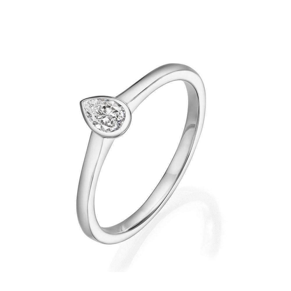Diamond Jewelry | 14K White Gold Diamond Ring - Drop