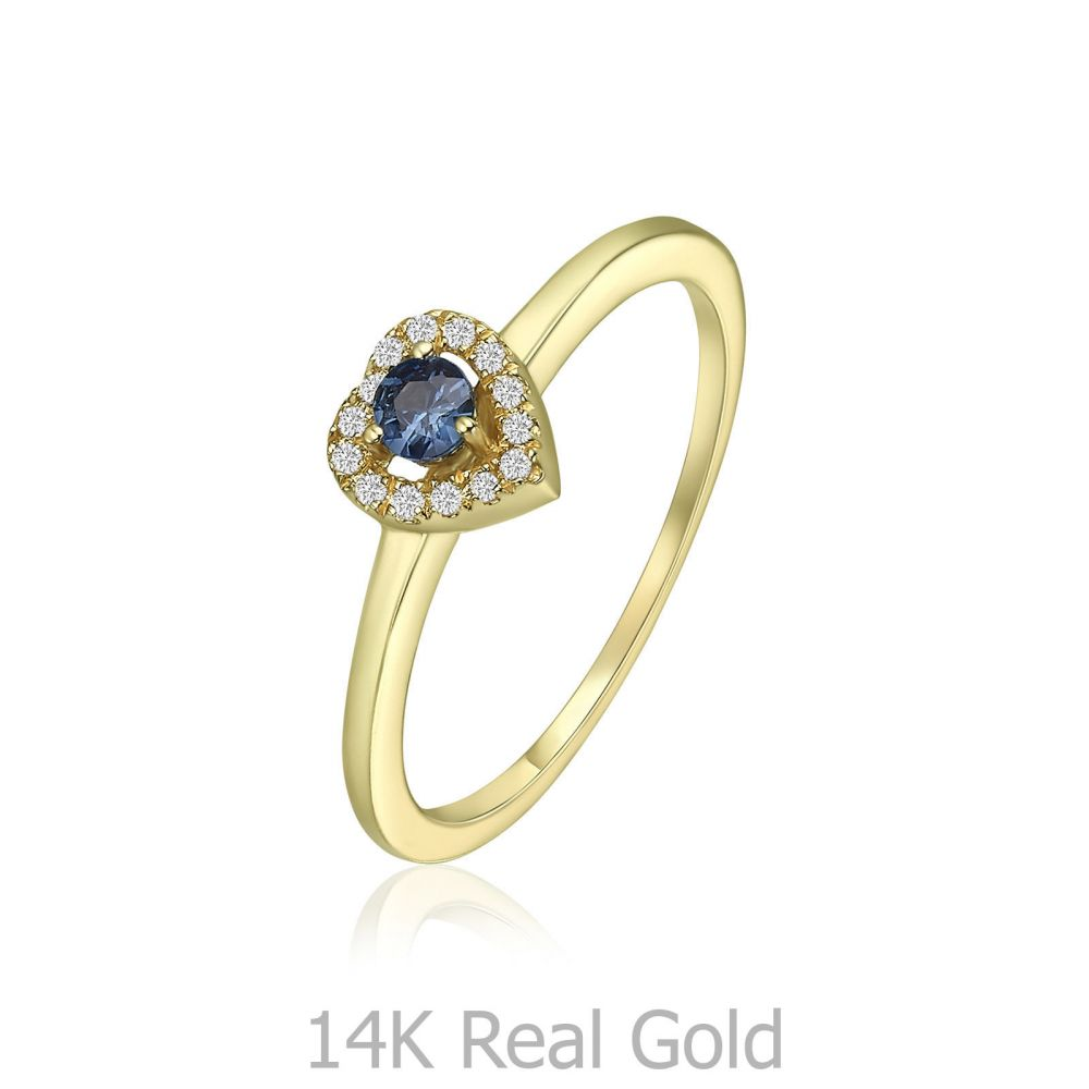 Diamond Jewelry | 14K Yellow Gold Ruby Diamond  Ring - Royal Heart