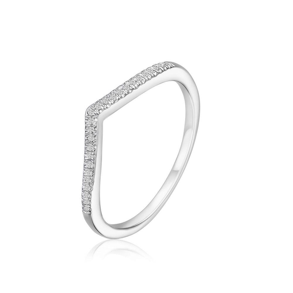 Diamond Jewelry   14K White Gold Diamond Ring -  Shimmering V