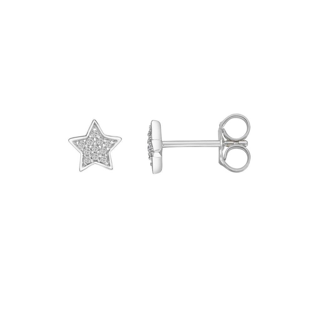 Diamond Jewelry   14K White Gold Diamond Earrings -The Wishing Star