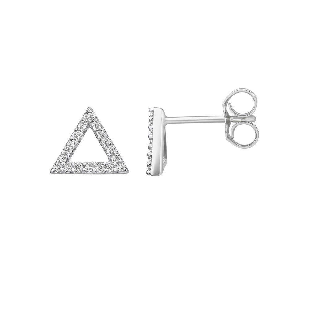 Diamond Jewelry   14K White Gold Diamond Earrings -Olympus Triangle