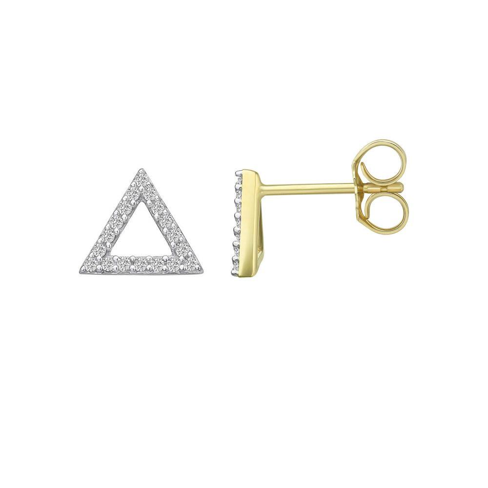 Diamond Jewelry | 14K Yellow Gold Diamond Earrings - Olympus Triangle