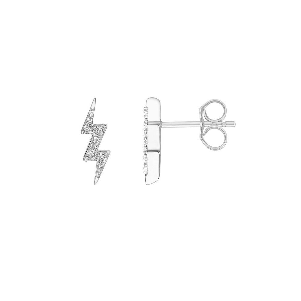 Diamond Jewelry | 14K White Gold Diamond Earrings -Lightning