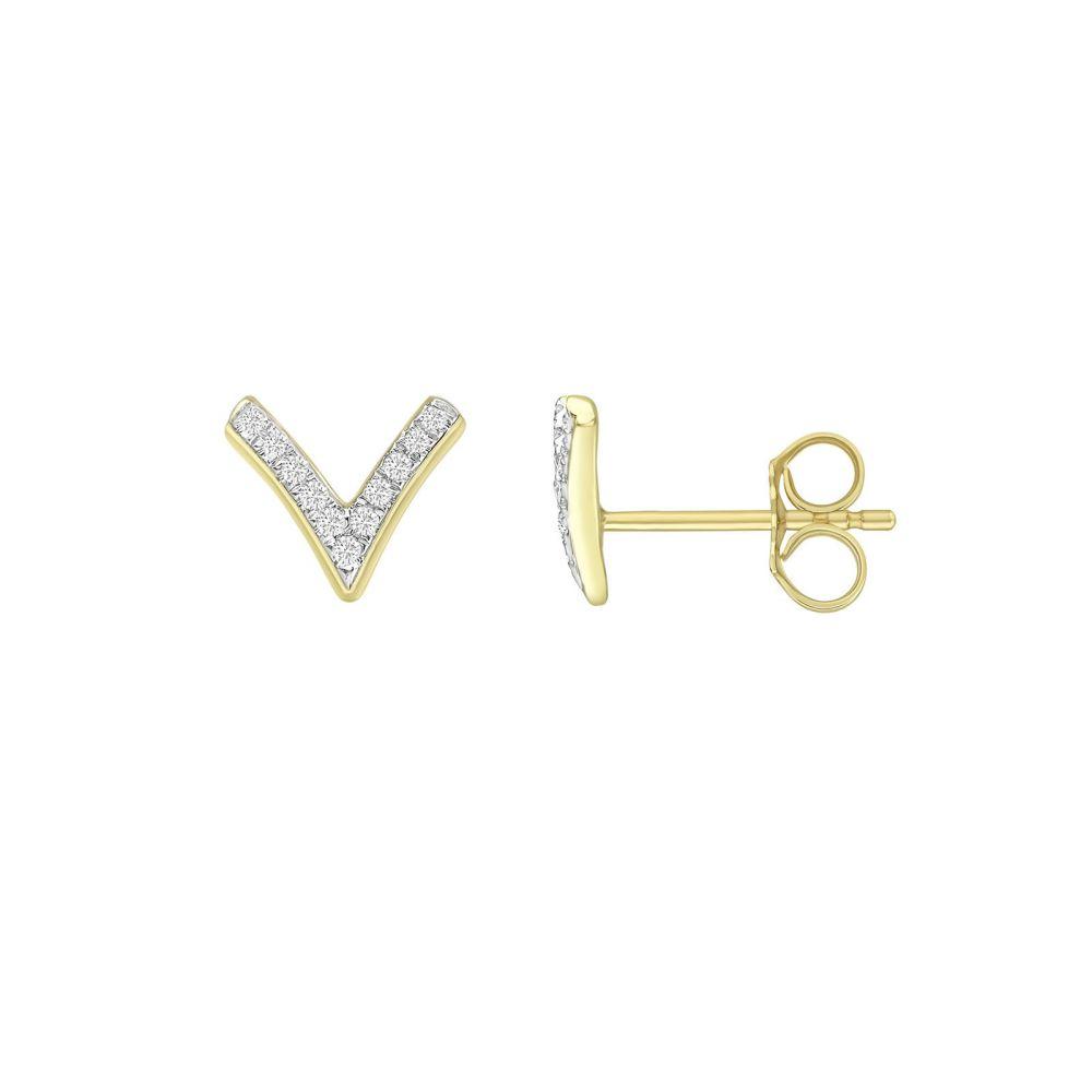 Diamond Jewelry   14K Yellow Gold Diamond Earrings - V Diamonds