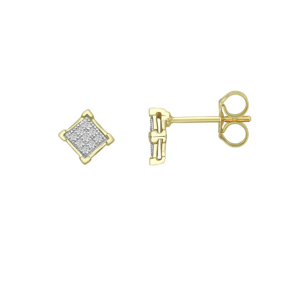 Diamond Jewelry | 14K Yellow Gold Diamond Earrings - Diamond Rhombus