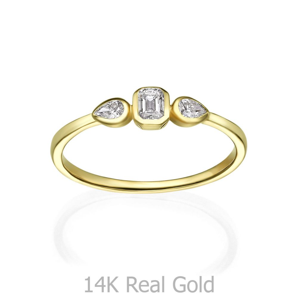 Diamond Jewelry | 14K Yellow Gold Diamond Ring - Bianca