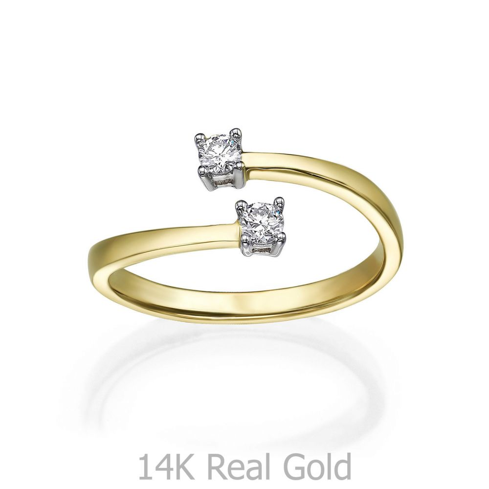 Diamond Jewelry | 14K Yellow Gold Diamond Ring - Ray