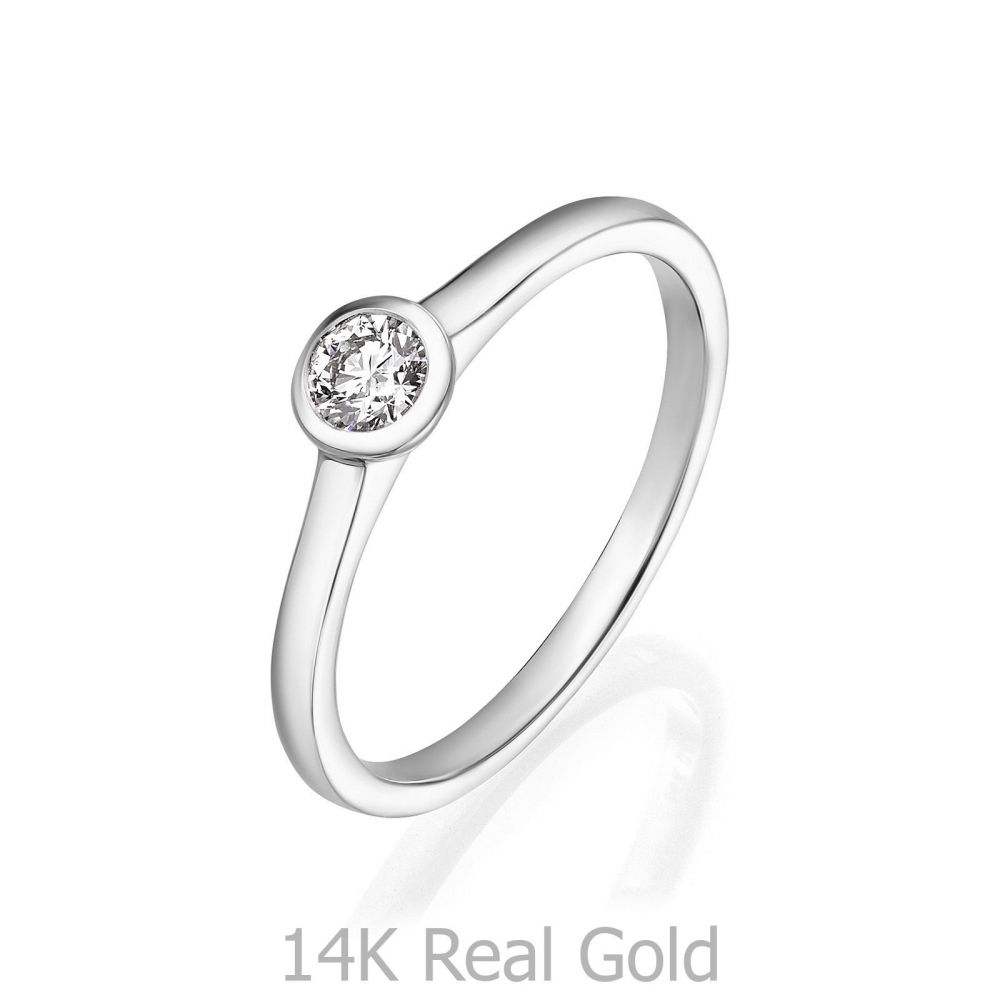 Diamond Jewelry | 14K White Gold Diamond Ring -Moon