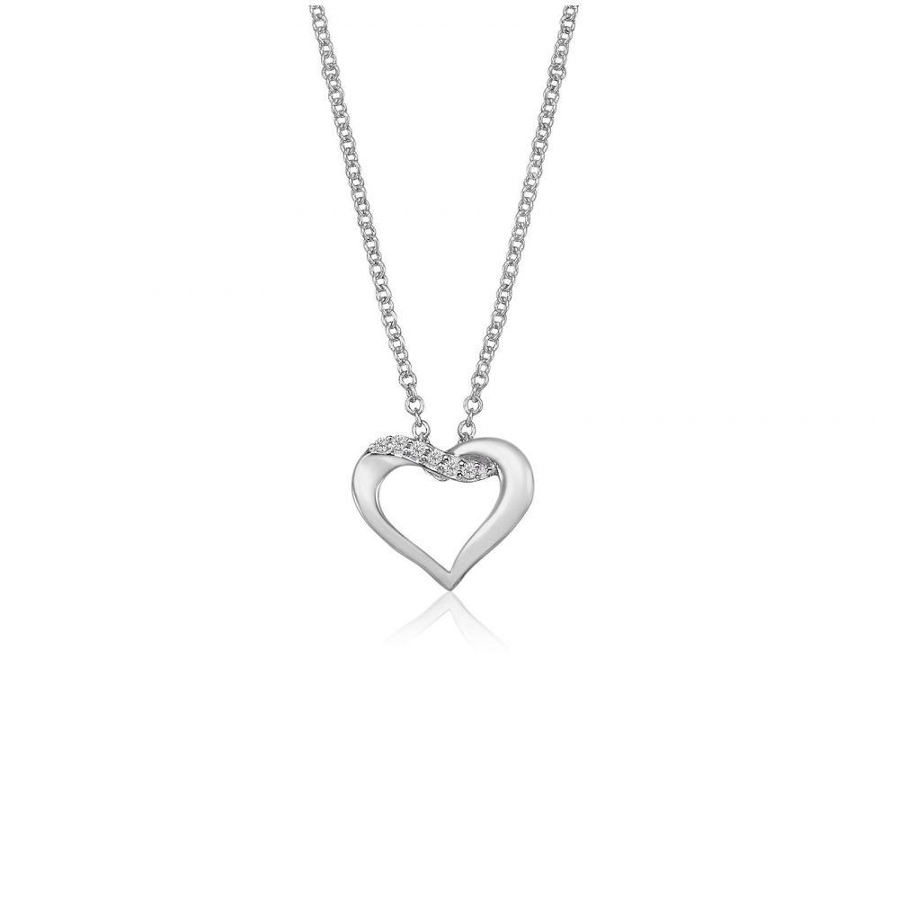Women's Gold Jewelry   14K White Gold Diamond Women's Pendant -Naia Heart