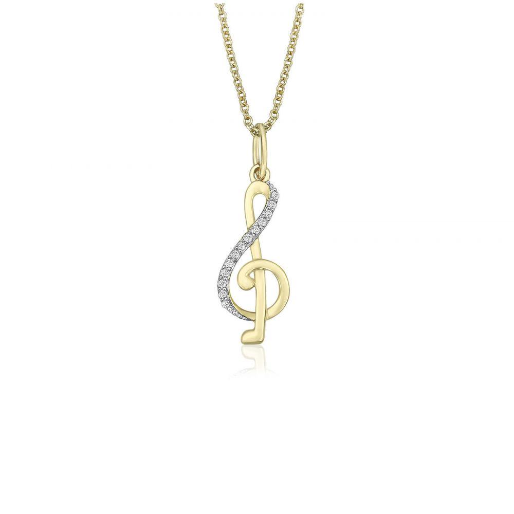Women's Gold Jewelry   14K Yellow Gold Diamond Women's Pendant - Music Note Sol