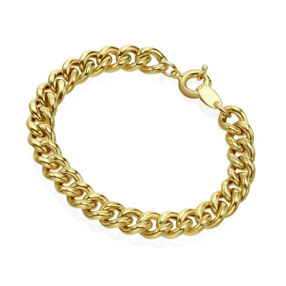 Women's Gold Jewelry   14K Yellow Gold Bracelet - Thick links