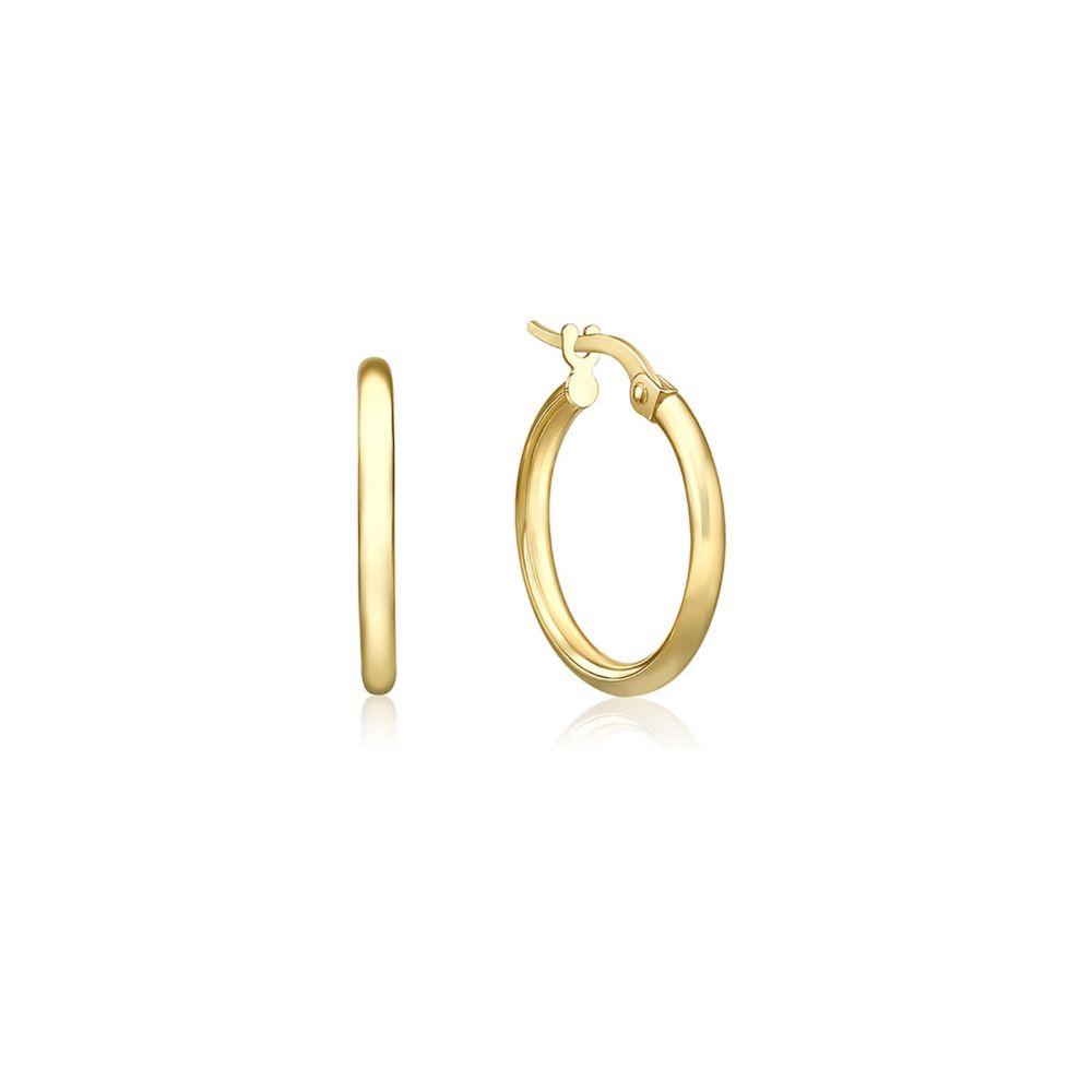 Gold Earrings | 14K Yellow Gold Women's Hoop Earrings - S Thin