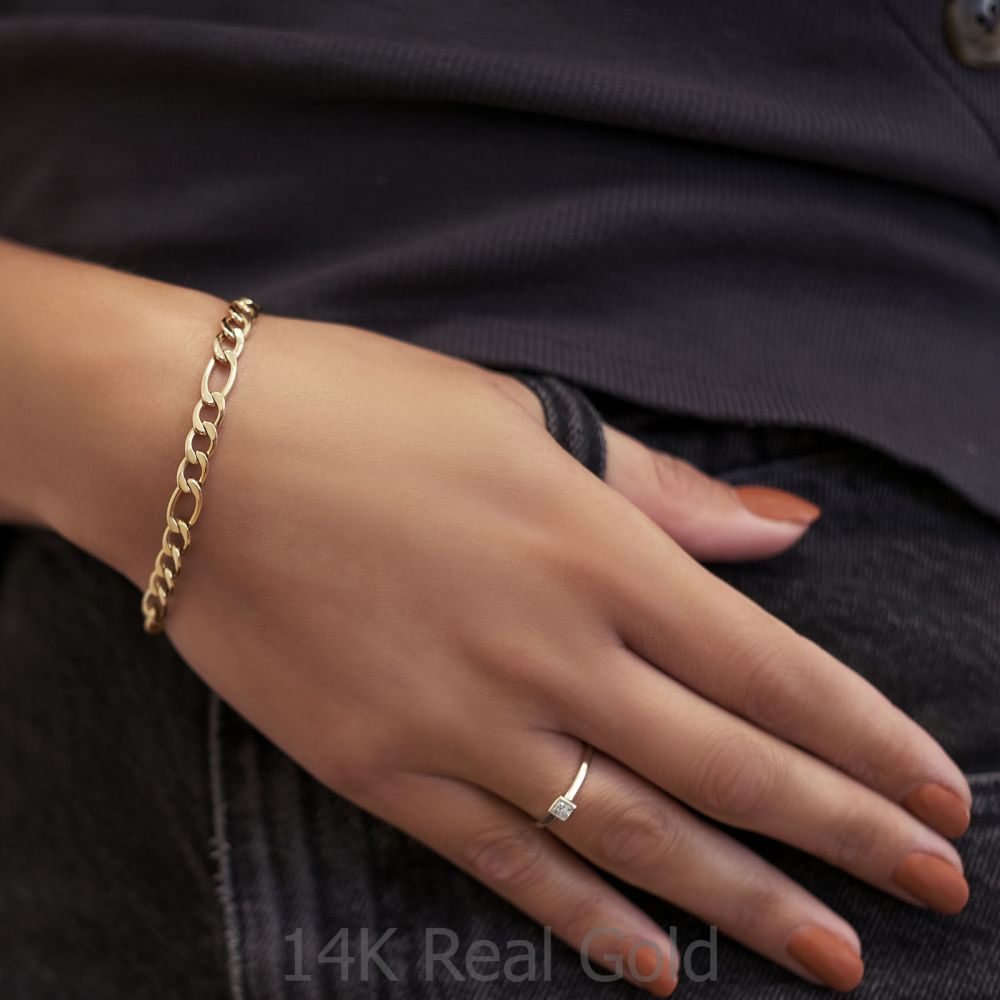 Women's Gold Jewelry | 14K Yellow Gold Bracelet - Figaro