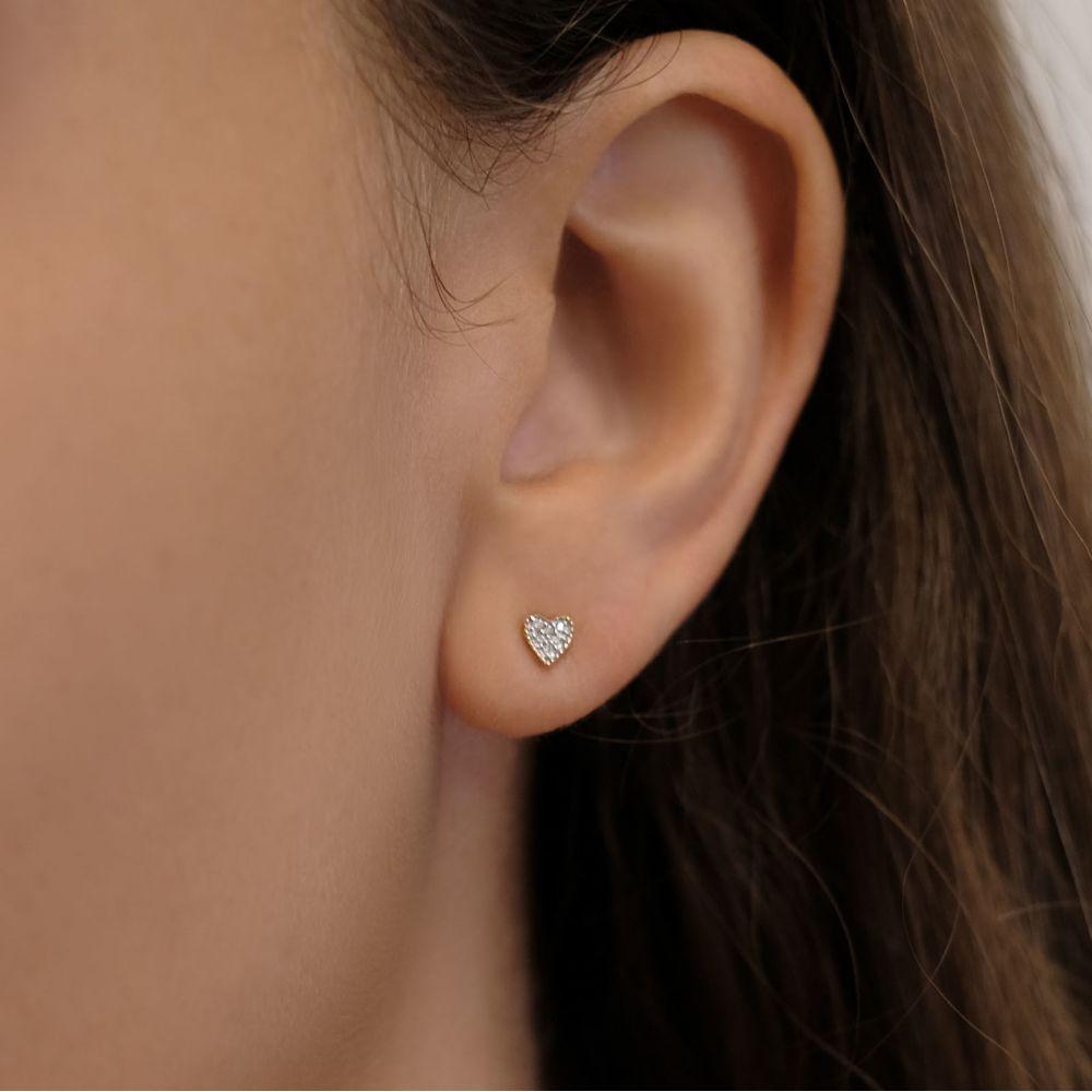Diamond Jewelry | 14K Yellow Gold Diamond Earrings - Kelly Heart