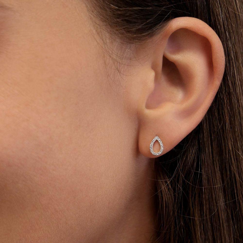 Diamond Jewelry   14K Yellow Gold Diamond Earrings - Glittering Drop
