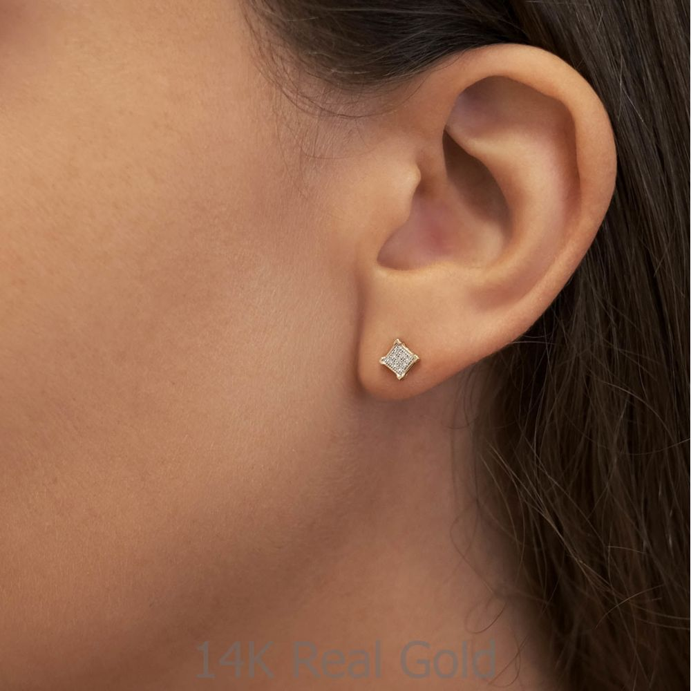 Diamond Jewelry | 14K White Gold Diamond Earrings -Diamond Rhombus