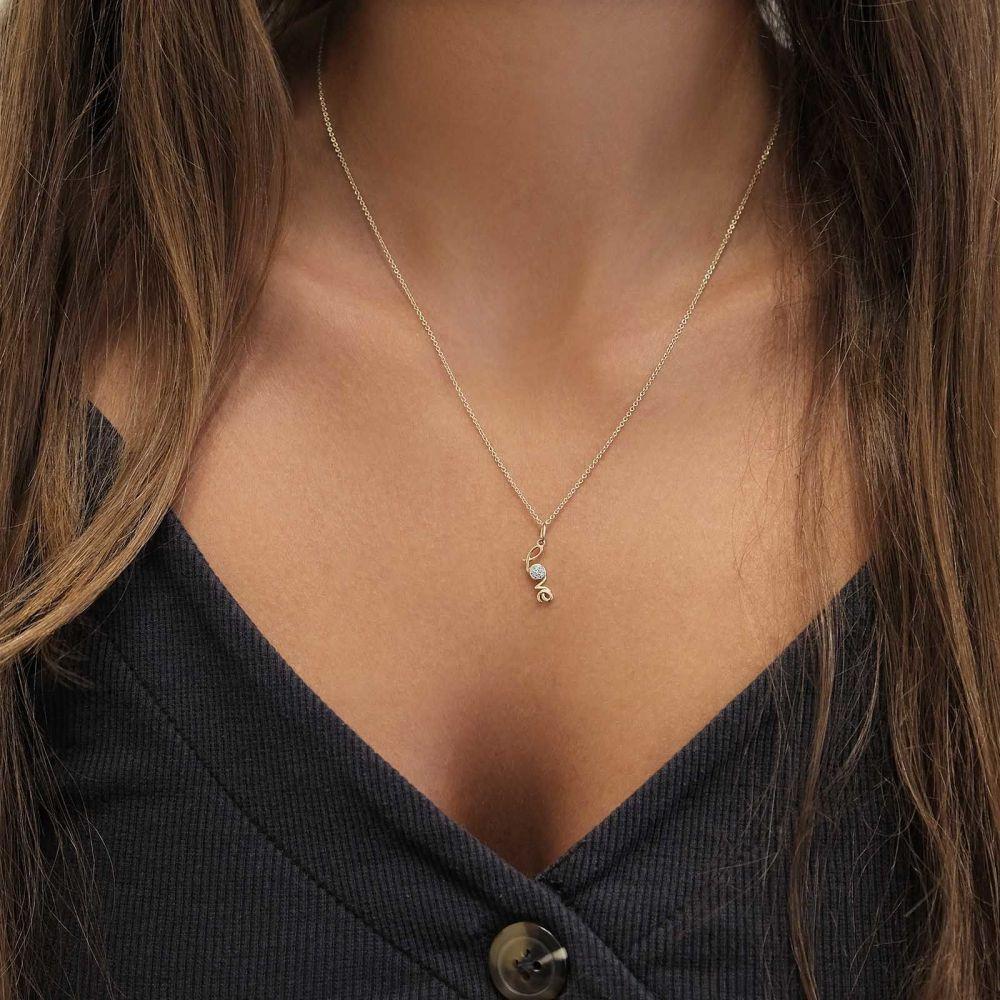 Women's Gold Jewelry   14K Yellow Gold Diamond Women's Pendant - Love Diamonds