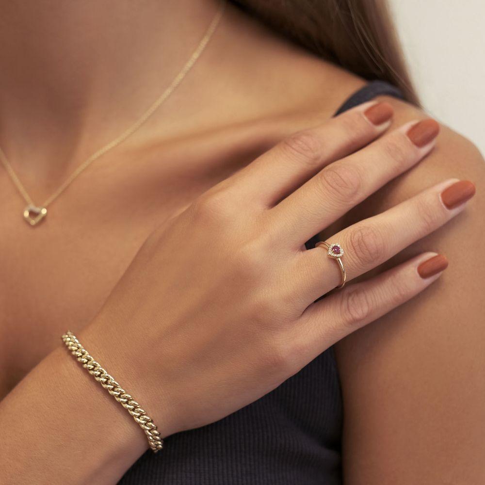 Diamond Jewelry | 14K Yellow Gold Ruby and Diamond  Ring - Royal Heart