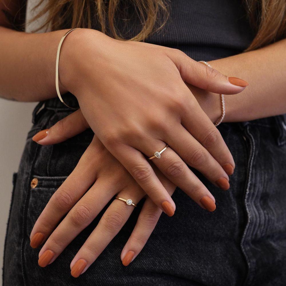 Diamond Jewelry | 14K Yellow Gold Diamond Ring - Drop