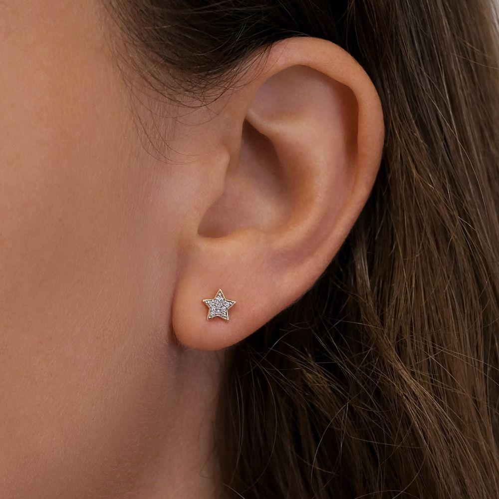 Diamond Jewelry | 14K Yellow Gold Diamond Earrings - The Wishing Star
