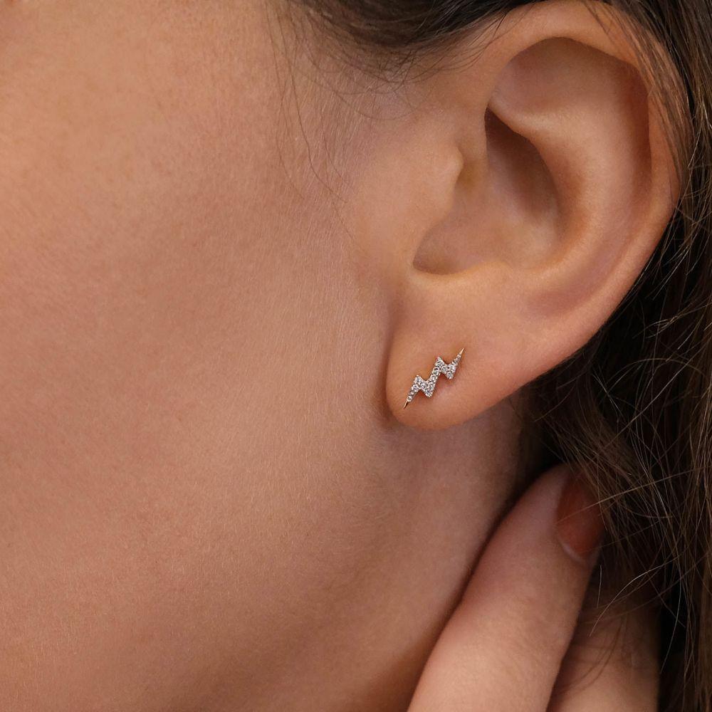 Diamond Jewelry | 14K Yellow Gold Diamond Earrings - Lightning