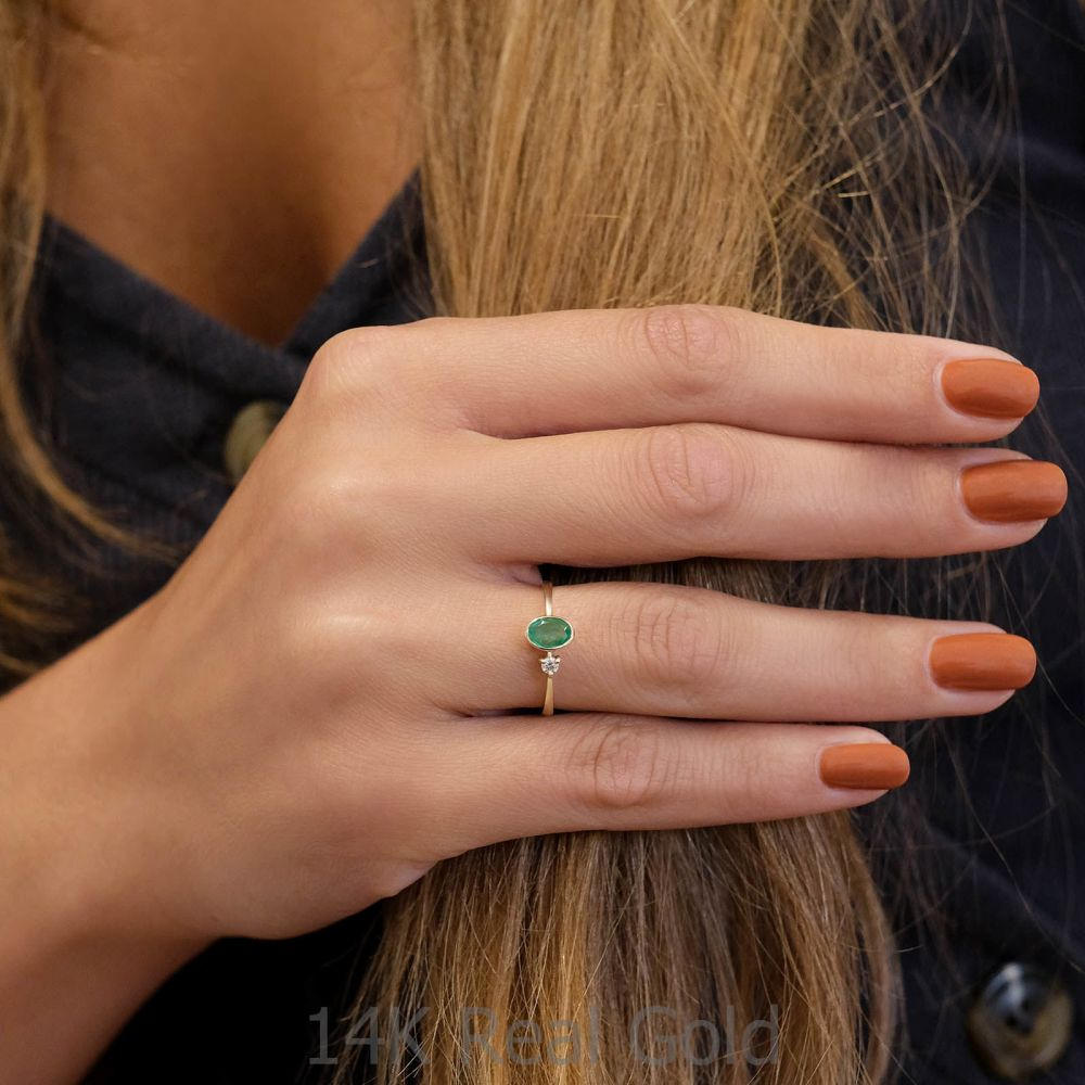 gold rings | 14K Yellow Gold Emerald and Diamond  ring - Ivy