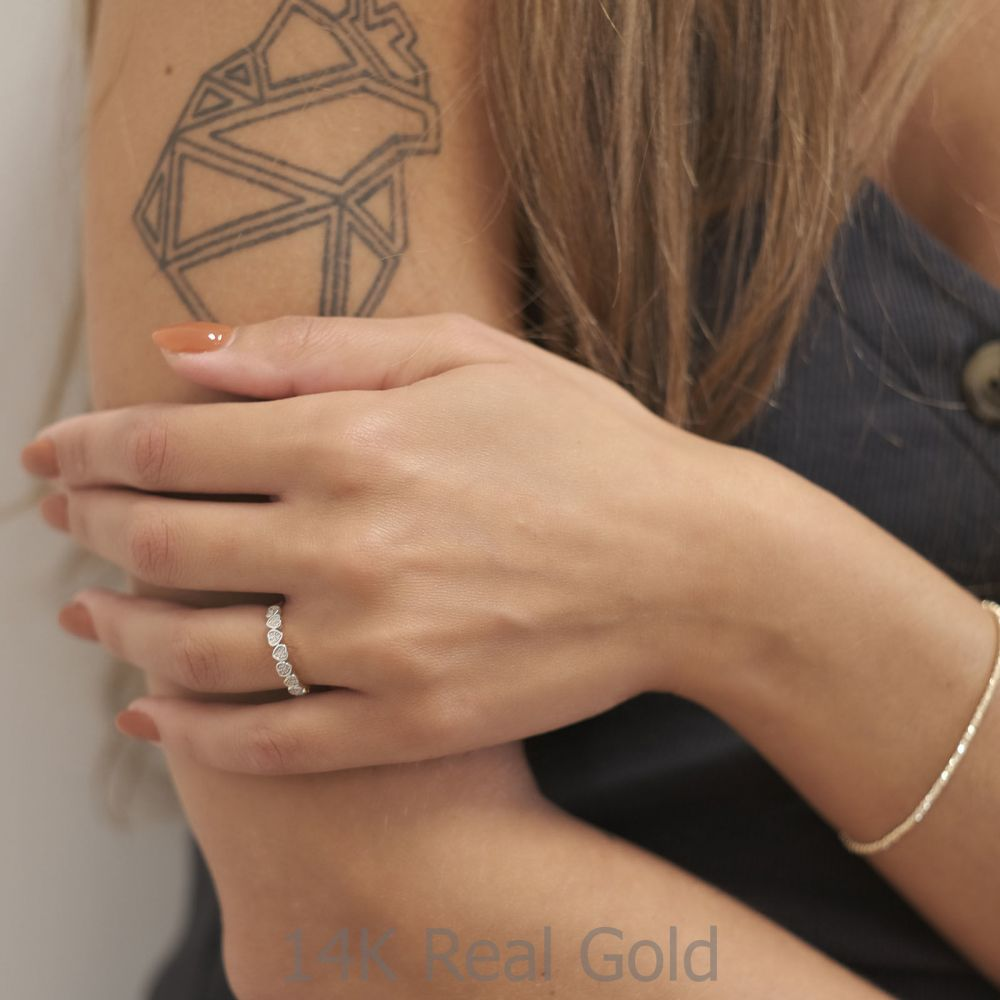 Diamond Jewelry   14K White Gold Diamond Ring - Nikka Hearts