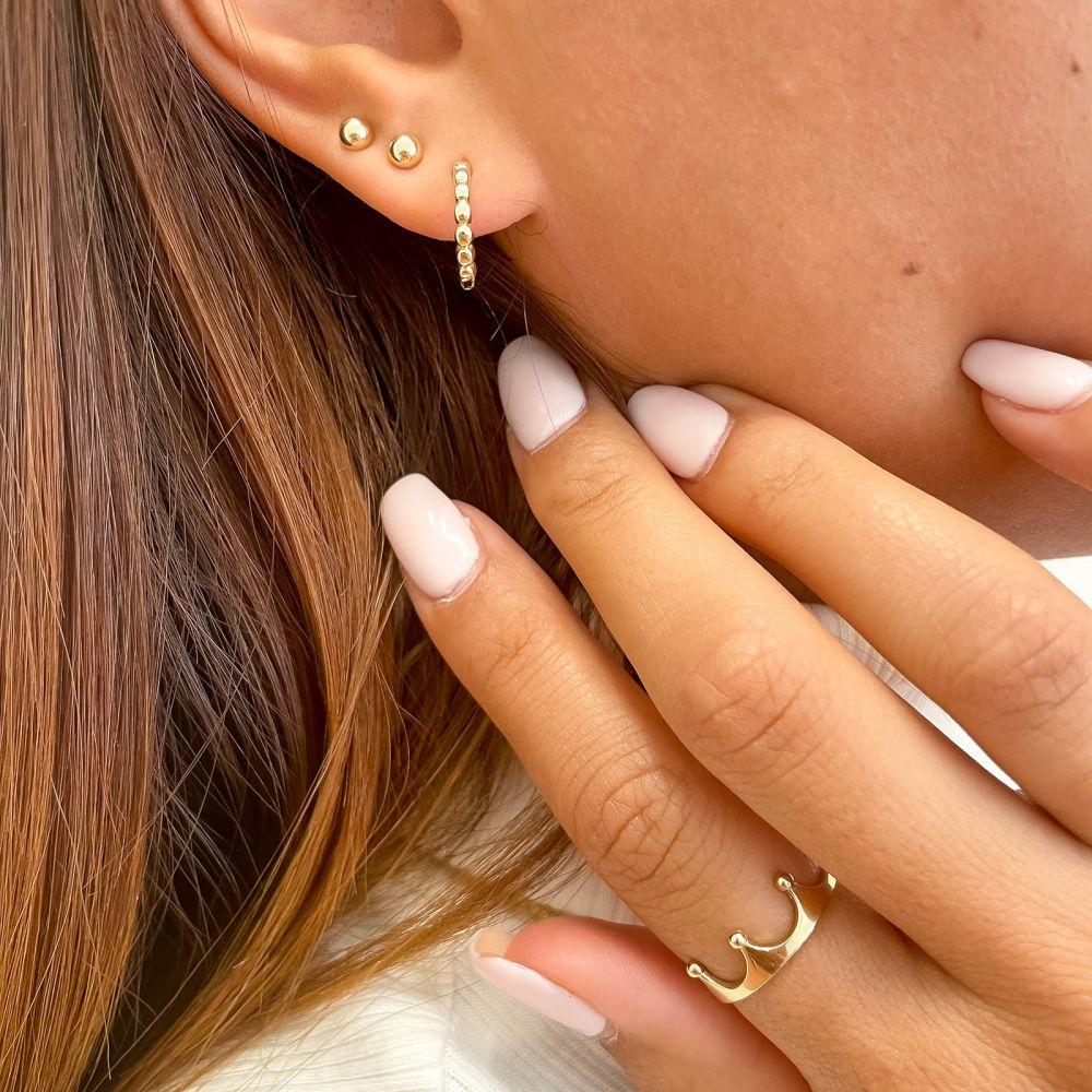 Gold Earrings | 14k Yellow gold women's  Hoop Earrings - Balls