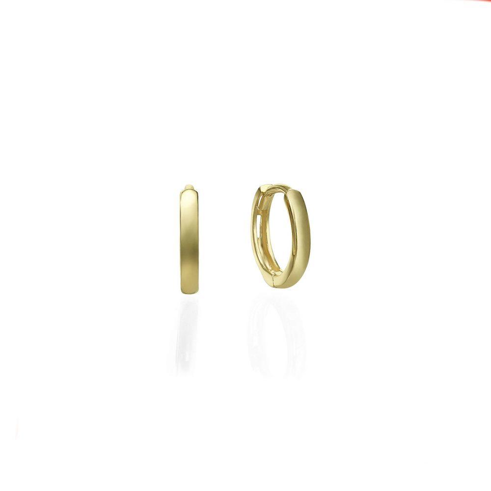 Gold Earrings | 14K Yellow Gold Women's Earrings - Sher hoops