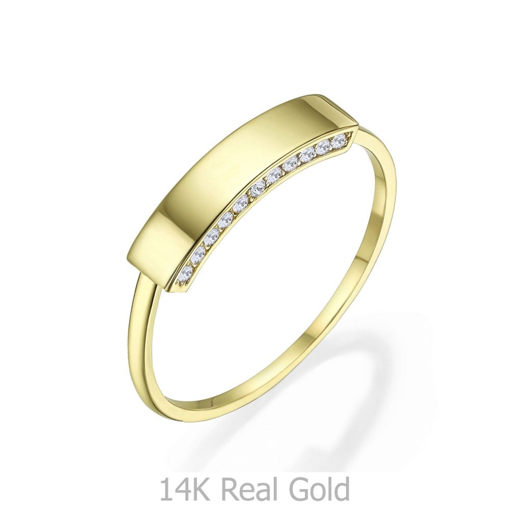 Women's Gold Jewelry   14K Yellow Gold Rings - Shimmering seal