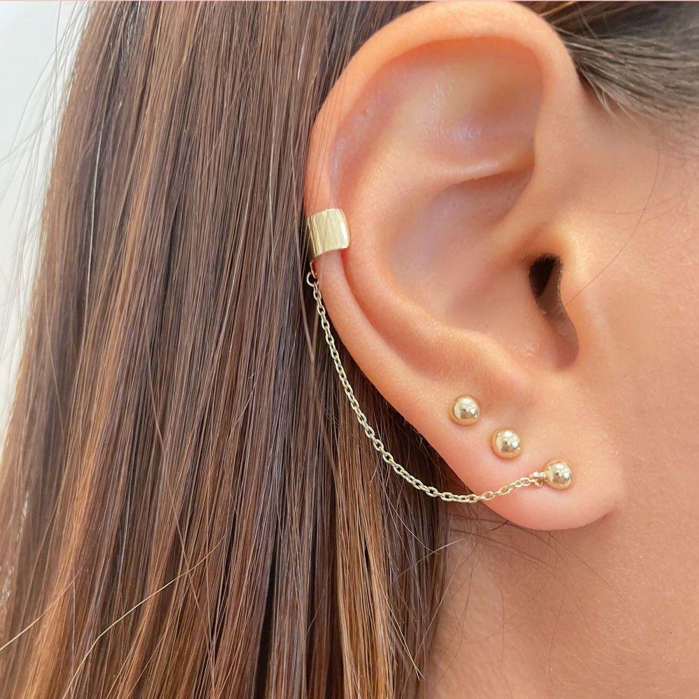 Gold Earrings   14K Yellow Gold Earrings- Helix Stud Earring Climbs